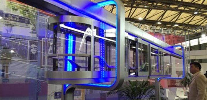 Suspended monorail system with transparent trains planned for Shanghai