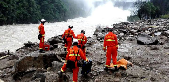 Chinese construction workers buried under landslide