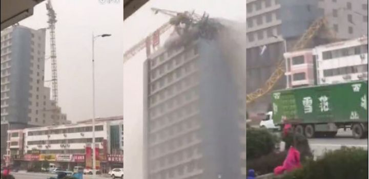 Video: Strong winds break construction crane in Jiangsu