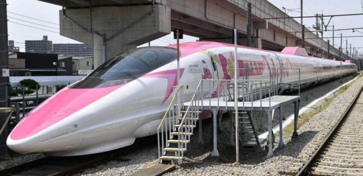 Hello Kitty bullet train shown to media ahead of debut