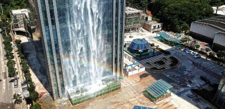 China builds waterfall on the side of a skyscraper