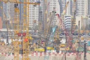 A forest of cranes at the MTRC's West Kowloon Terminus site on the Hong Kong section of the Guangzhou-Shenzhen-Hong Kong Express Rail Link  (Danny Chung)