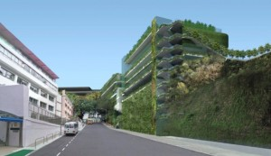 View of the proposed French International School extension on completion in 2016 showing the vertical greening  (Town Planning Board)