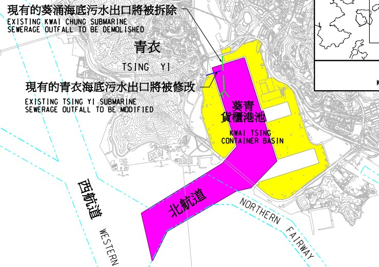 Location map of the proposed dredging works at Kwai Tsing Container Basin  (HKSAR Government)