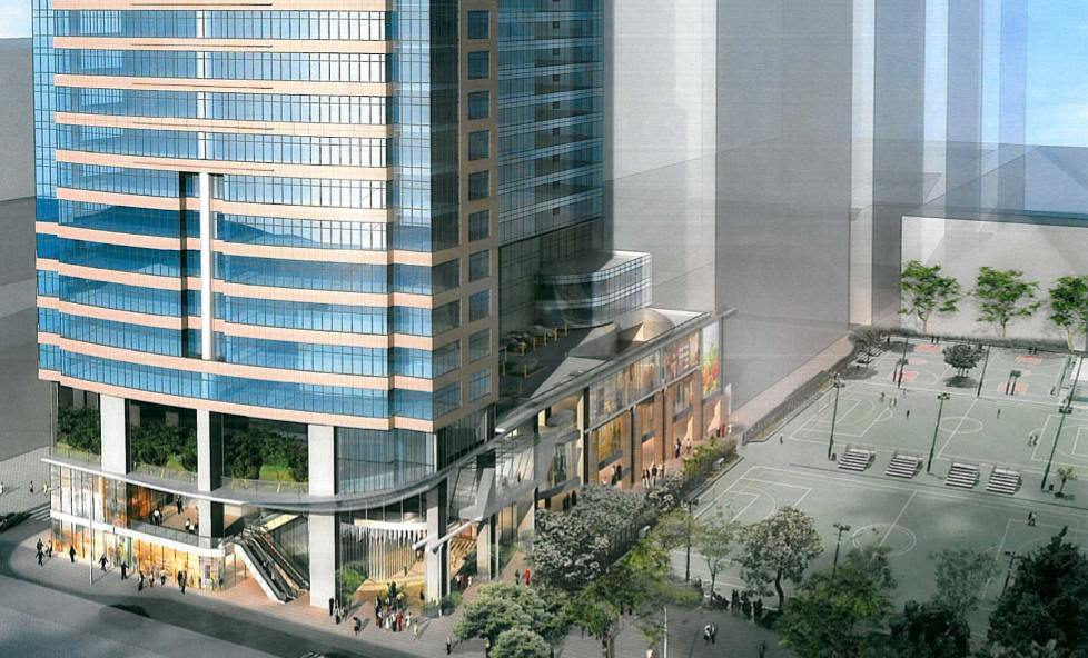 Artist's impression of the proposed wholesale conversion of Spectrum Tower and Paul Y Centre  (Town Planning Board)