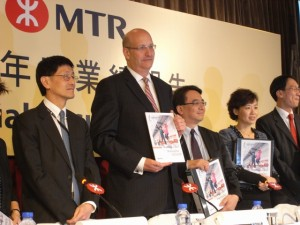 MTRC senior management  at the press briefing to announce its 2012 annual results   (Danny Chung)