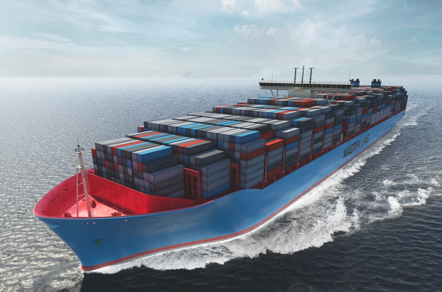 Computer generated picture of an ultra large container ship, Maersk Line's proposed Triple class ship    (Maersk Line)