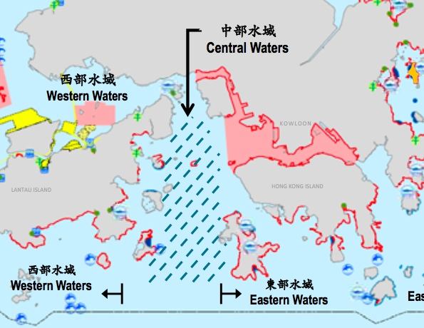 Location of Central Waters where the Government proposes to build artificial islands    (HKSAR Government)