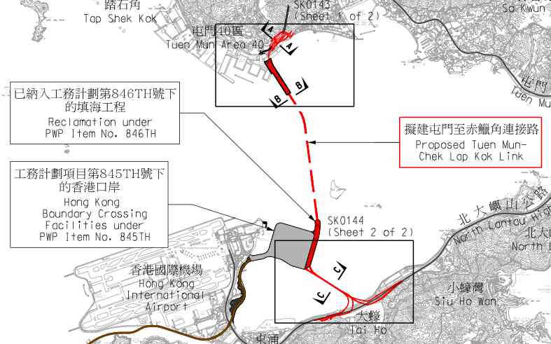 The Northern Section of the Tuen Mun-Chek Lap Kok Link will connect Tuen Area 40 and the artificial island of the Hong Kong Boundary Crossing Facilities  (Highways Department - HKSAR Government)