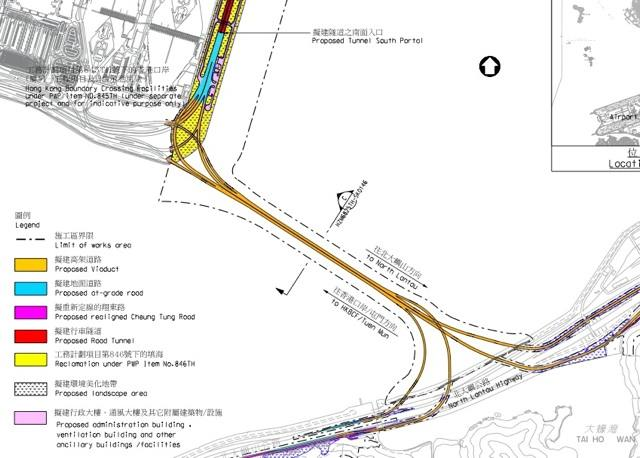The works for the Southern Connection of the Tuen Mun-Chek Lap Kok Link consists of at-grade road, viaducts and modifications to existing roads on North Lantau  (Highways Department)