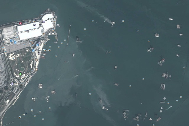 The view from above. A satellite photograph taken on 19 January 2013 of the reclamation area off the airport island  (Google Earth)