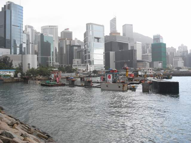 The precast unit on 19 July 2013. The upper part of the unit remains above water according to its design  (Danny Chung)