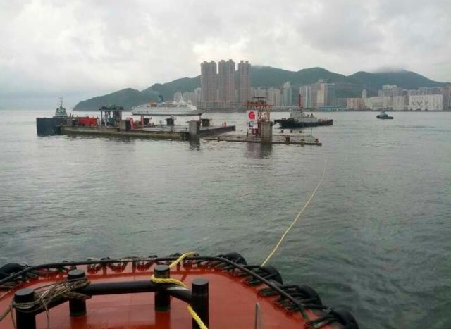 The precast unit at a brief stopover  in Tseung Kwan O after arriving in Hong Kong   (Gammon-Leader Joint Venture - Derek Zen)