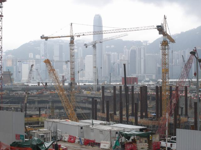 MTR Corporation says any labour imports would depend on whether its contractors are able to find suitable local candidates. Separately Leighton-Gammon Joint Venture the main contractor for the West Kowloon Terminus North pictured above says it will submit a plan in three months' time for partial completion of the project within the limited time available   (Danny Chung)