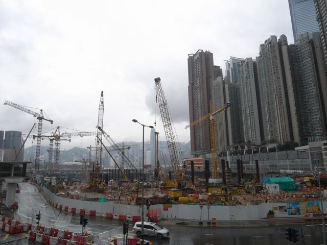 The West Kowloon Terminus North construction site of the Express Rail Link on 19 August 2013. The MTRC says the link is still on schedule for completion in 2015   (Danny Chung)