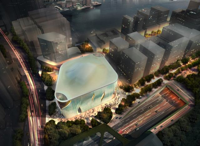 The Xiqu Centre for performances of Chinese opera is slated for completion in 2016. The entrance to the building is designed to resemble the curtain of a theatre stage  (Photo courtesy of BTA & RLP Company Limited and West Kowloon Cultural District Authority)
