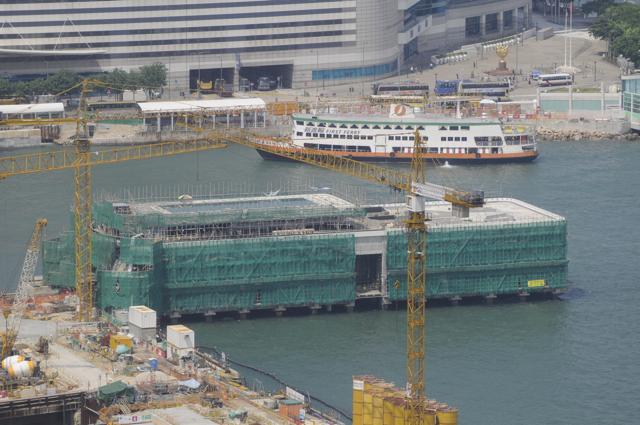 Construction of the reprovisioned Star Ferry pier as part of the works for the Central-Wanchai Bypass  (Danny Chung)