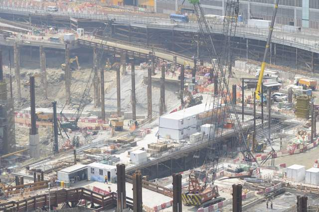 The West Kowloon Terminus construction site on 22 October 2013. Government initiated projects such as the Express Rail Link have resulted in tremendous demand for construction staff at all levels   (Danny Chung)