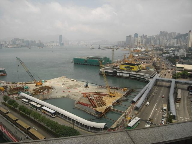 Looking east from the Hong Kong Exhibition and Convention Centre - land formation in progress for the Central-Wan Chai Bypass  (Danny Chung)