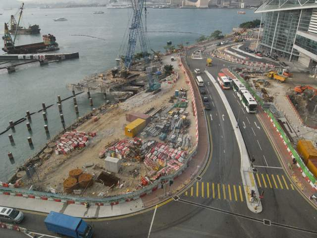 Construction work for the Central-Wan Chai Bypass at a location west of the Hong Kong Exhibition and Convention Centre in Wan Chai. Chun Wo-Leader Joint Venture is responsible for the reclamation and the bypass in the water channel under the convention centre while China State -Leader Joint Venture is responsible for land formation and the bypass west of the convention centre   (Danny Chung)