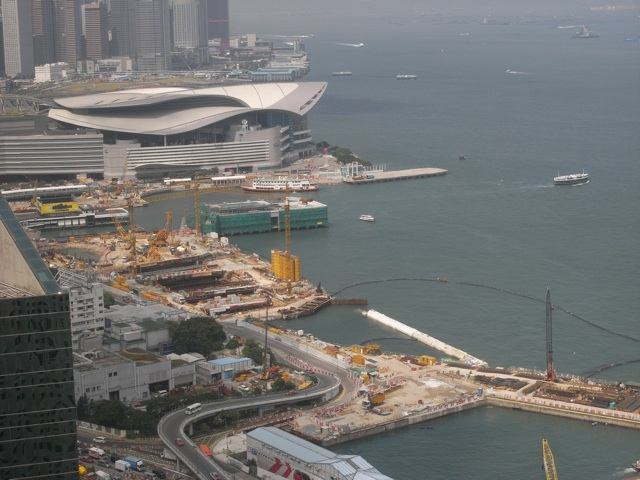 The section of the Central-Wan Chai Bypass at Wanchai Development Phase II under construction by the Civil Engineering and Development Department as of 18 September 2013  (Danny Chung)