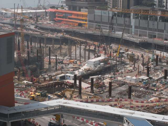 The West Kowloon Terminus Station North construction site on 22 October 2013. According to Apple Daily, China State's price for this project was HK$1.2 billion cheaper than the HK$8.91 billion price of Leighton-Gammon Joint Venture   (Danny Chung)