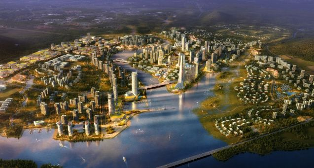 An artist's impression of the new town slated for development in the Chinese coastal city of Fuzhou in Fujian province (Atkins China)