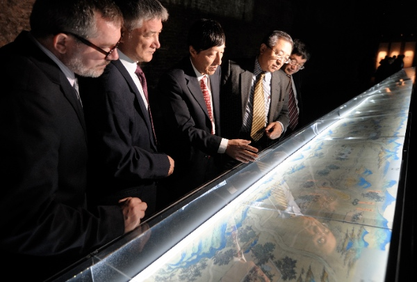 A meter-long ancient Chinese map, depicting cities along the Silk Road.