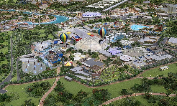 Work on the three theme parks - Motiongate, Legoland and Bollywood Parks is underway. A model of the development is pictured here