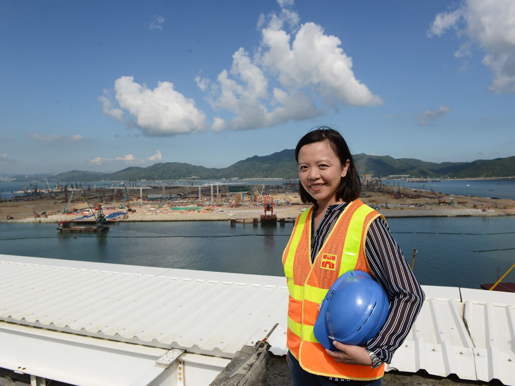 Land, ho!: Highways Department Engineer Molly Kwan oversees reclamation for the Hong Kong-Zhuhai-Macao Bridge.