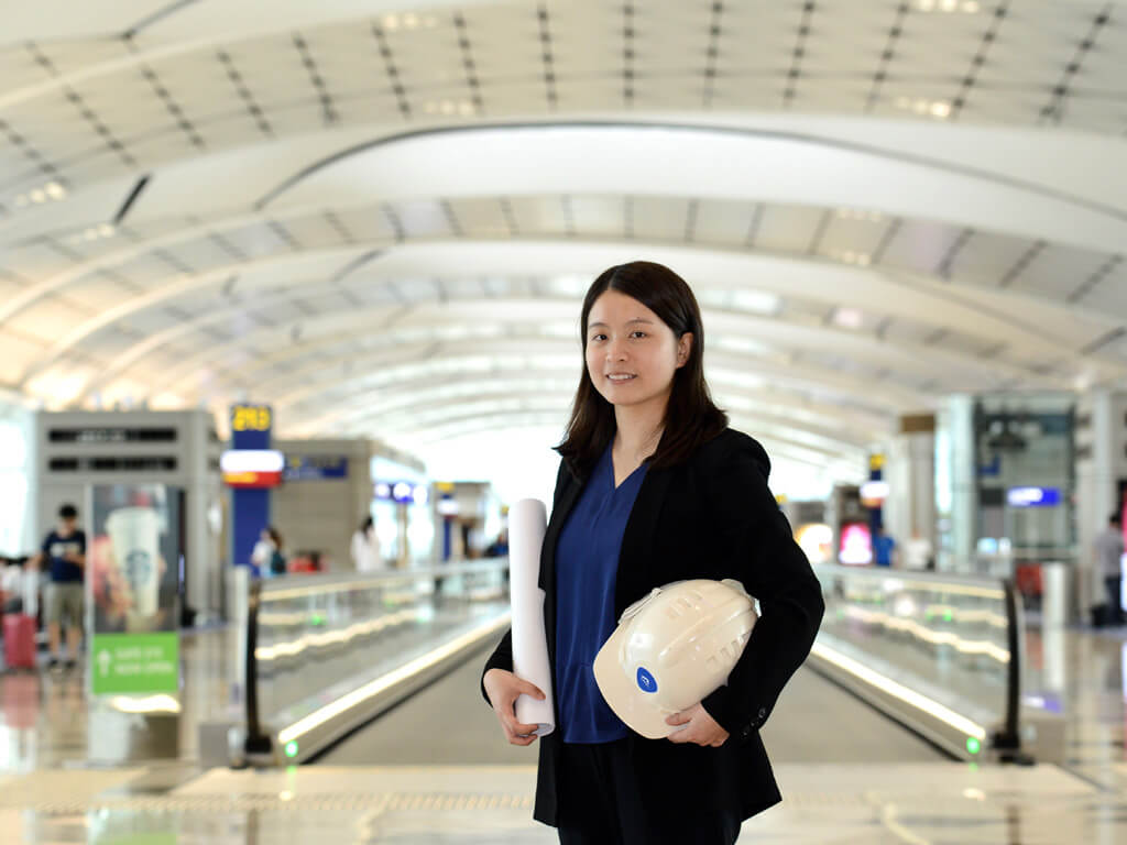Air expansion: Airport Authority Project Engineer Giselle Yip is part of the Third Runway Project Team.