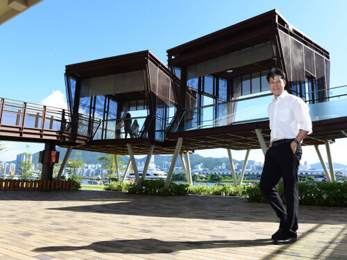 Take a break:  Architectural Services Department Senior Architect Andrew Nam designed Kwun Tong Promenade as a place for busy Hong Kong people to relax.